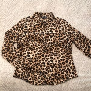 New York & Company leopard print button down shirt